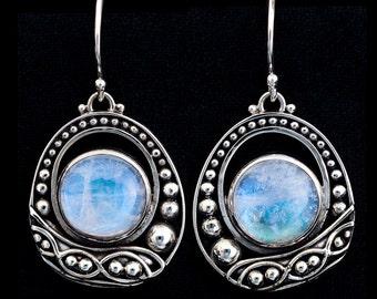 Silver Moonstone Balinese Earrings: VIOLA