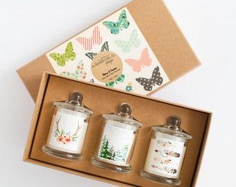 Trio Mini Soy Candle Gift Set - Flora & Fauna, Sweet Pea Vanilla, White Tea Rose, Cedarwood Eucalyptus, Wood Wick.