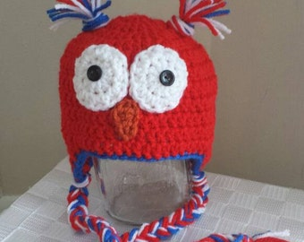 Red, White and Blue Owl Hat, crochet baby hat, baby owl hat, red owl hat