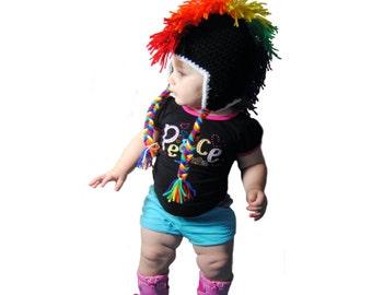 Rainbow Mohawk Crochet Hat, Punk Rock Baby, Toddler Mohawk Hat, Rainbow Baby Hat, Girls Punk Hat, Boys Mohawk Hat, Newborn Photo Prop, Adult