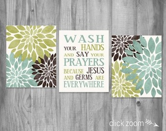 Bathroom Wall Art Set Wash Your Hands Germs Jesus Saying Flower Prints Home Decor Brown Green Light Teal Blue