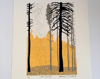The Clearing linocut print