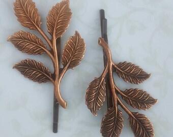 Copper Leaf Bobby Pin Set of 2, Hair Pins, Woodland Rustic Nature Leaves Wedding Hair Bridal Party Bridesmaids, Boho, Garden, Fall
