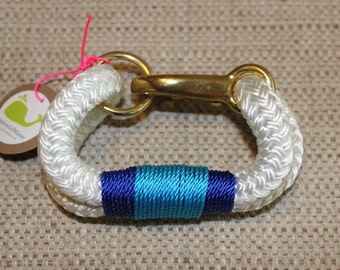 Customized Maine Rope Bracelet - White Rope - Blue / Turquoise Accent - Made to Order