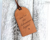 Personalized leather luggage tag by Oxee, wedding travel gift, any quote, and so the adventure begins, gift for couple