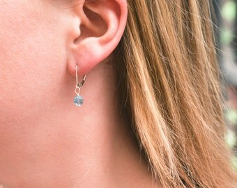 Sterling Silver with Aquamarine Swarovski bead dangle earrings -  March birthstone earrings