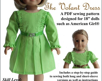 Pixie Faire About A Doll 18 The Volant Dress Doll Clothes Pattern for 18 inch American Girl Dolls - PDF