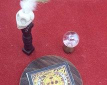 Miniature dollhouse 1:12 Ouija Board-crystal ball-skull display board-planchette//witch
