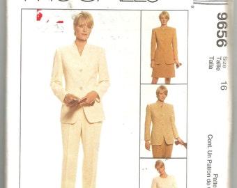 9656 McCalls Sewing Pattern Lined Jacket Skirt Pants UNCUT Size 16 38B