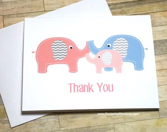 Elephant Thank You Cards, Pink Baby Elephant Baby Shower Thank You Cards, Elephant Thank You Cards, Pink Baby Elephant Cards
