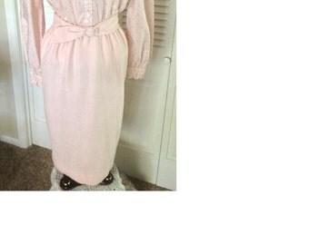 "Vintage designer light pink polka dot ""Mad Men"" style dress ""Herman Marcus DALLAS"" brand"