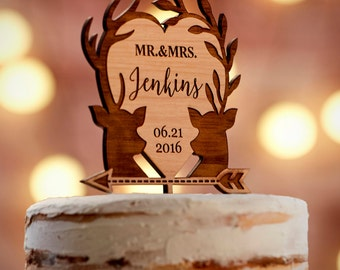 Personalized Wedding Cake Topper | Custom Cake Topper | Rustic Wedding Cake Topper with Deers | Names Cake Topper -CT#37W