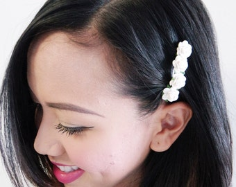 Tiny Cute White Rose Barrette - Spring and Summer Hair Accessories, Rose Hair Barrette, Rose Hair Accessories