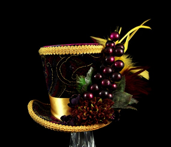Burgundy, Purple and Gold Flower and Berry Large Mini Top Hat Fascinator, Alice in Wonderland, Mad Hatter Tea Party Hat, Bridal, Derby Hat
