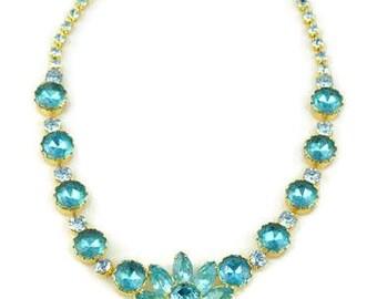 Juliana Aqua and Blue Topaz Rhinestones Waterfall Pendant Necklace, Gold Plated