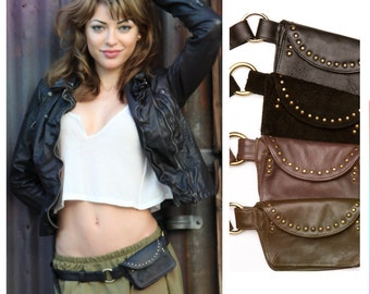ON SALE-Robertson Leather Festival Belt Bag Hip Fanny Pack-Small