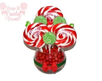 Red and Green Lollipop Centerpiece, Christmas Candy Centerpiece, Christmas Wedding Centerpiece, Christmas Candy, Holiday Party