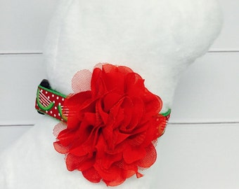 Red flower dog collar accessory
