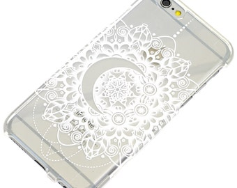 White Crescent Moon Mandala Henna Clear Phone iPhone 7 Case, 6, SE, 6 Plus, 7 Plus, 6S, 5, 5C, 5S, Galaxy S6, S7, Note 5, Note 7, Vanity,