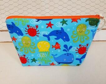 Makeup bag, Cosmetic bag, Zipper bag, Makeup clutch, sea animals, yellow polka dot
