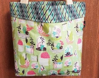Large tote bag, Tote bag, Teacher tote, Market bag, Succulents