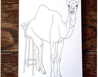 Optimistic Camel Card - funny greeting card - hand drawn - card for all occasions