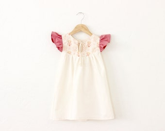 Girls Keyhole Cotton Dress in Miniments Raw with Pink Ruffle Sleeves