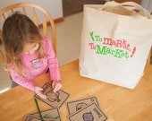 Farmers Market Bag, Canvas Tote, Reusable Grocery Bag, Extra Large Tote Bag, Kids Tote, Foodie Gifts