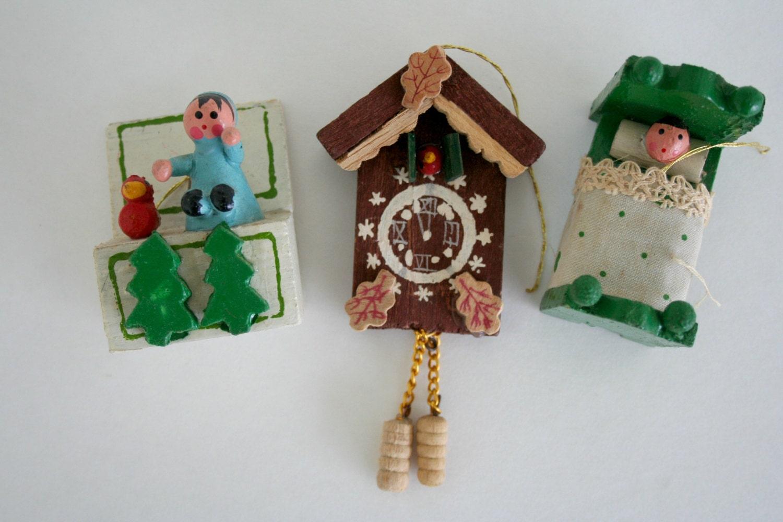 Vintage Wood Christmas Ornaments Set Of 3 Tree Ornaments