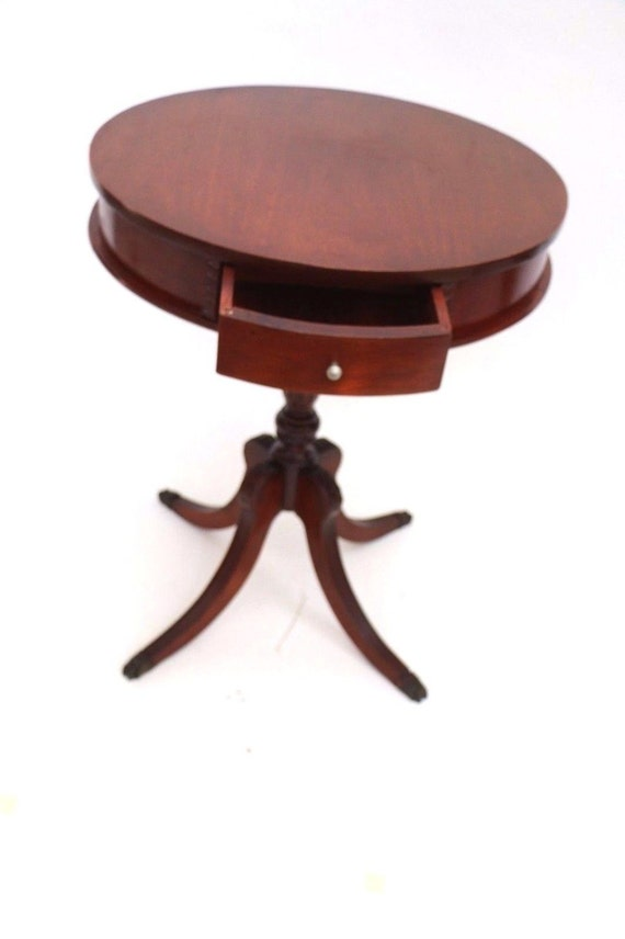 Vintage Mahogany Drum Table With Drawer Round Drum By