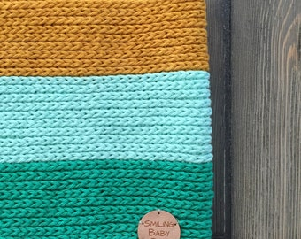 Boy's scarf. Boy's cowl. Toddler green, mint, and mustard scarf. Crochet baby boy cowl.