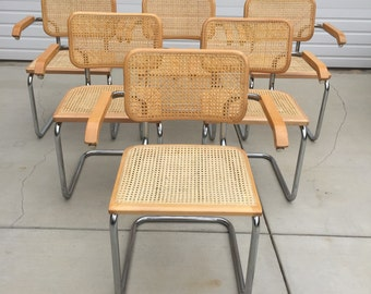 Vintage Marcel Breuer Cesca Style Cantilever Beechwood Chrome and Cane Chair Set of 6 Arm Chairs - Made in Italy