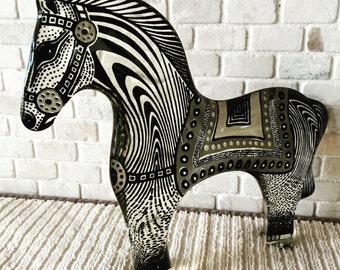 Large Mid Century Abraham Palatnik Op Art Black & White Horse