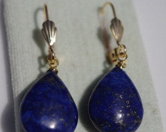 Gorgeous 14K Gold Filled Lapis Lazuli Large DRop Elongated Tear Drop Lever Back Earrings Free Ship USA