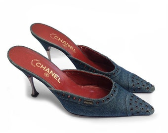 Chanel denim heel mules shoes