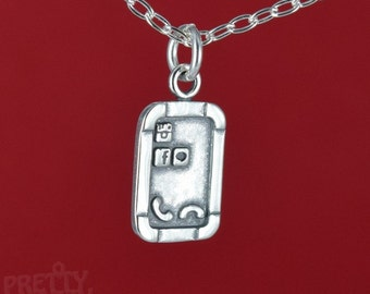 Cell Phone Tablet Charm Pendant 925 Solid Sterling Silver Jewelry - Charm Only