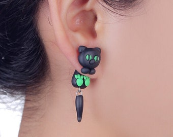 Cat Earrings Black and Green Eyes Long Tail Polymer Clay Animal Stud Accessories Lucky Crazy Cat Lady Lover Gifts Woman