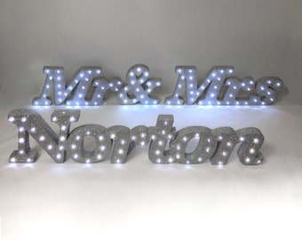 Light up Mr and Mrs Glitter top table sign Wedding sweetheart table decoration Top table decoration Personalised wedding table letters