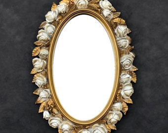 Rose Mirror - White and Gold Floral Oval Mirror - Vintage Homco