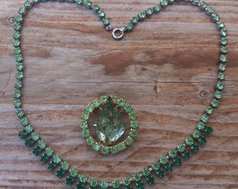 Vintage green rhinestone brooch and necklace