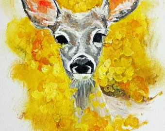 Original-Deer original painting, Deer art, wall art original, nature art, animal art, wildlife art, colorful art, deer portrait, yellow art