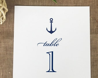 Anchor Table Numbers, Nautical Wedding Table Numbers, Printed Table Numbers