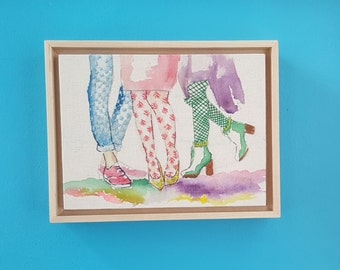 Colorful Fashion Illustration Modern Watercolor Embroidery Home Decor, Gift for her