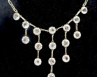 "Vintage STERLING CRYSTAL NECKLACE Sterling Silver Open Back Round Crystal Necklace 16"" Simple Elegance"