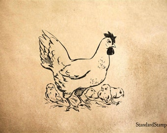 Hen and Chicks Rubber Stamp - 2 x 2 inches