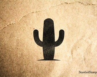 Short Cactus Rubber Stamp - 2 x 2 inches