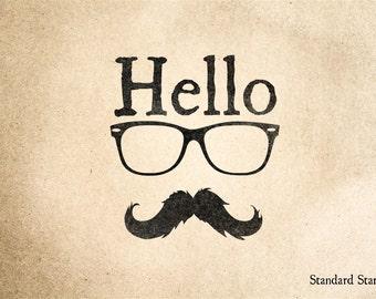 Hello Mustache Rubber Stamp - 2 x 2 inches
