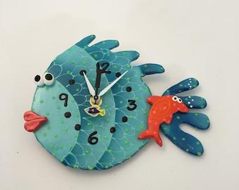 Kids Wall  Clock ,Nursery Wall Clock,Ocean, Under the sea,Aquarium ,Clay Fish  Wall Clock ,Beach Clock,Unique Clock,Handmade clock