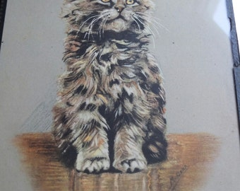 Beautiful vintage print of a gorgeous tabby cat signed M.Gear