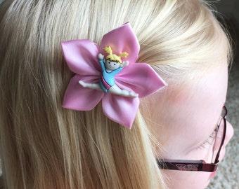 Gymnastics/Gymnast Hair Clip/Hair Bow, Pink or Purple Ribbon, Kanzashi